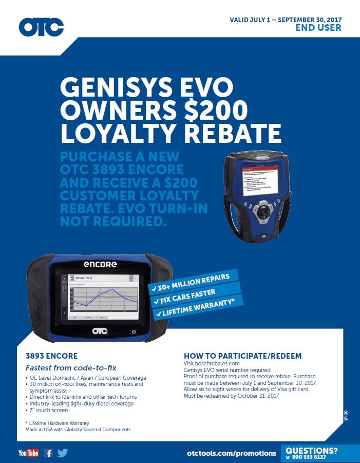 OTC Genisys EVO Loyalty July 1 to Sept 30