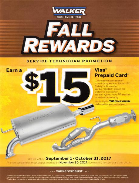 Walker Fall Rewards Sept 1 to Oct 31