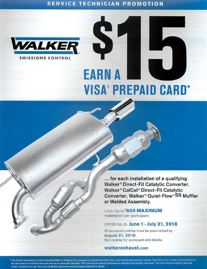Walker $15 Service Tech Rebate